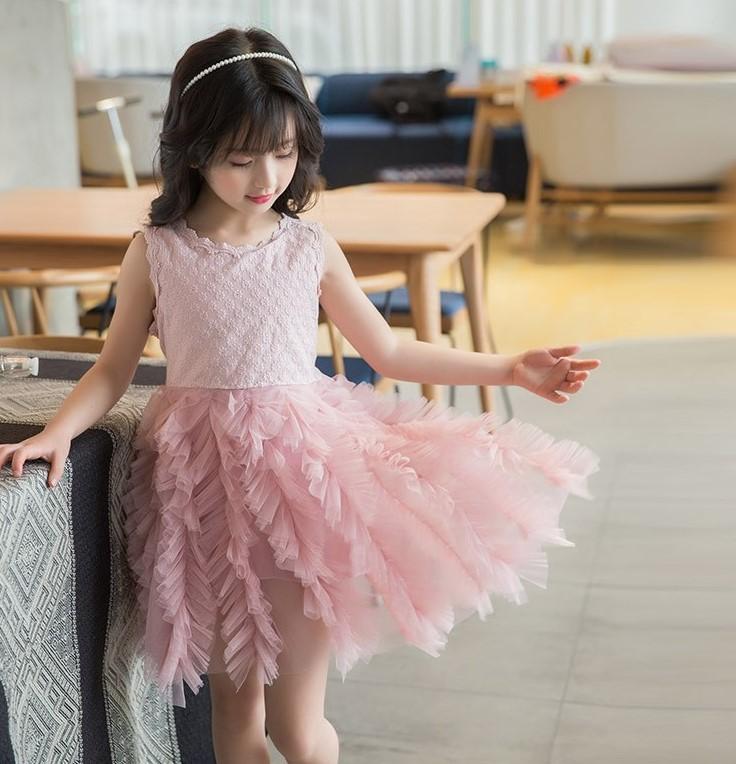 Girls Princes Pink Flower Dress