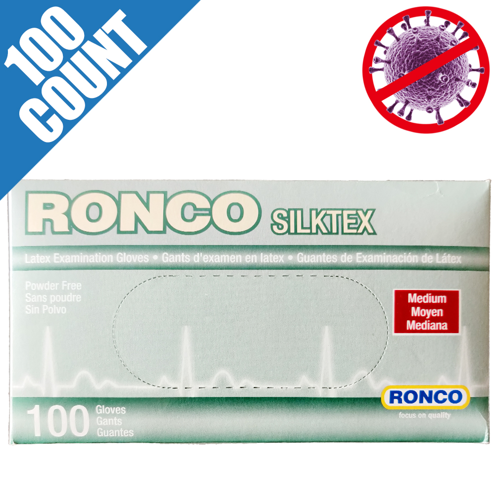 Not Melt with Alcohol, RONCO Medical Grade Latex Disposable Gloves, Premium Quality, Powder Free, Medium (Box of 100pcs)