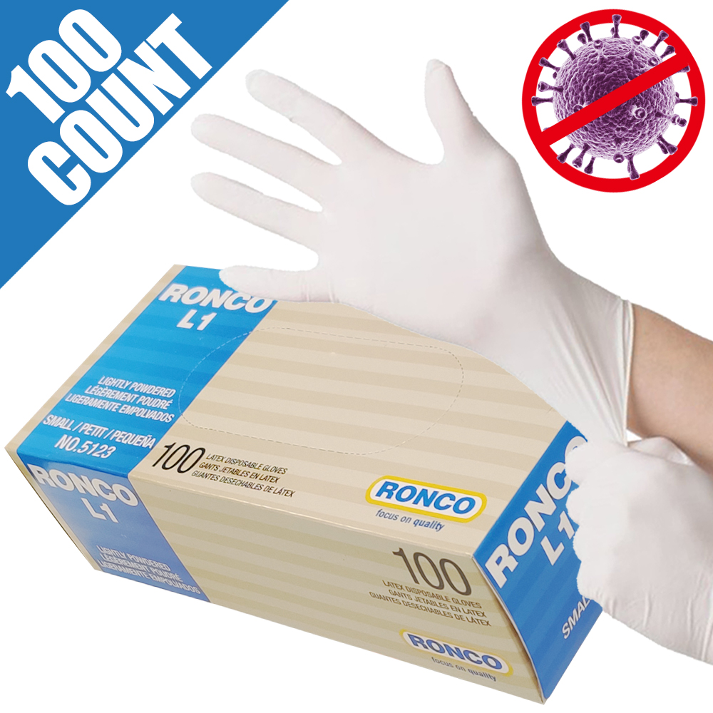 Not Melt with Alcohol, RONCO Medical Grade,Latex Disposable Gloves, Premium Quality, Lighty Powdered, Small (Box of 100pcs)