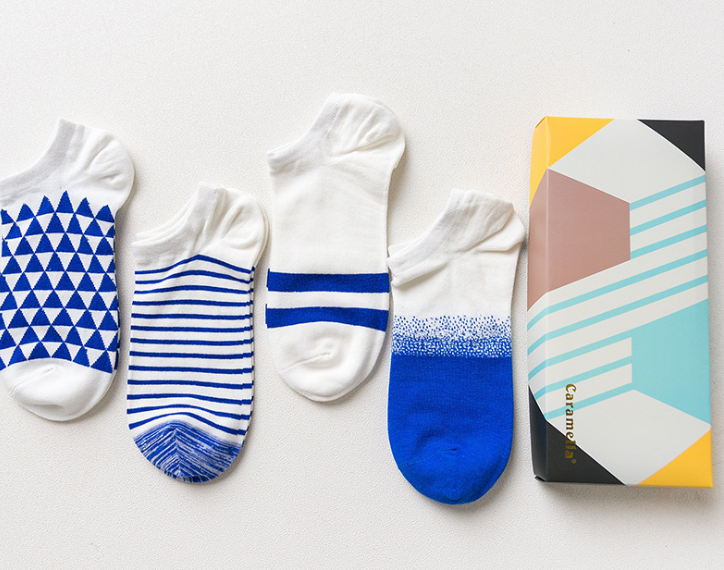 Caramella Unisex Socks Fun blue/ white Gift 4-Pack Awesome Happy pack