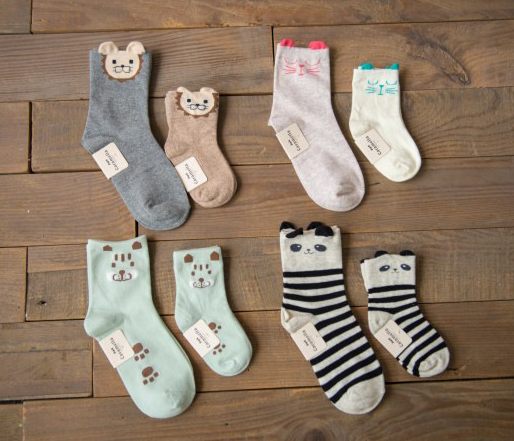 Parent-child Cotton Seamless Socks 8 pairs perfect toes with blue gift box and gift bag